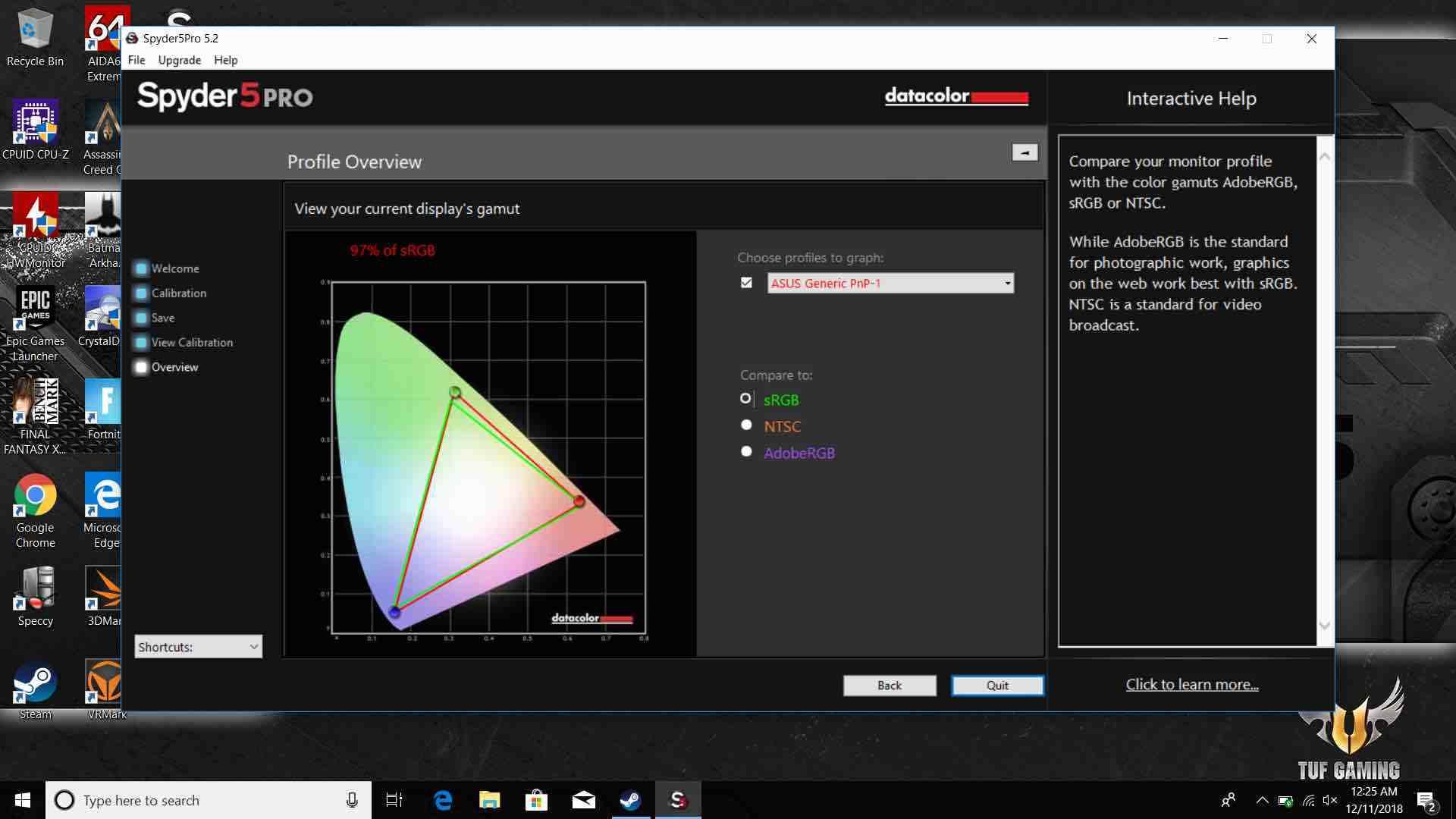 Kết quả cân màu màn hình ASUS TUF Gaming FX505 với Spider 5 Pro ở mức 97% sRGB.