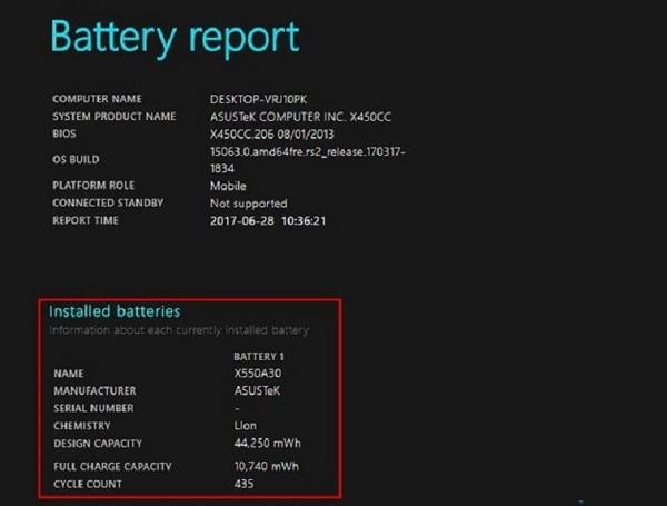 Kiểm tra độ chai pin laptop Win 10